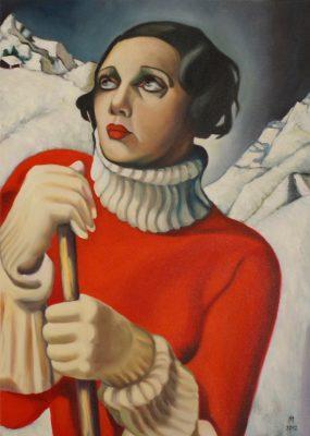 "I.M. nach Tamara de Lempicka ""St. Moritz"" Öl/LW 70 x 50 cm"