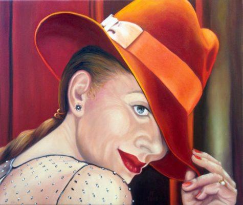 Selbstportrait mit rotem Borsalino Öl/LW 50 x 60 cm